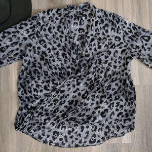 Babaton Grey Leopard Print Cross Front Blouse Sm